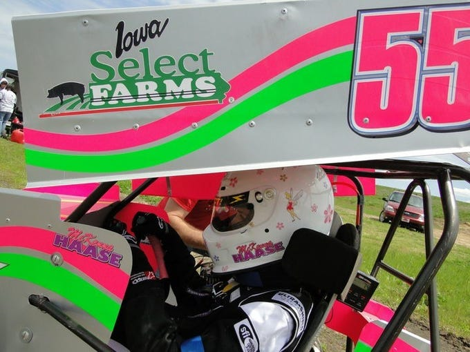 McKenna Haase in her cart for her first year of races at English Creek Speedway in 2010.