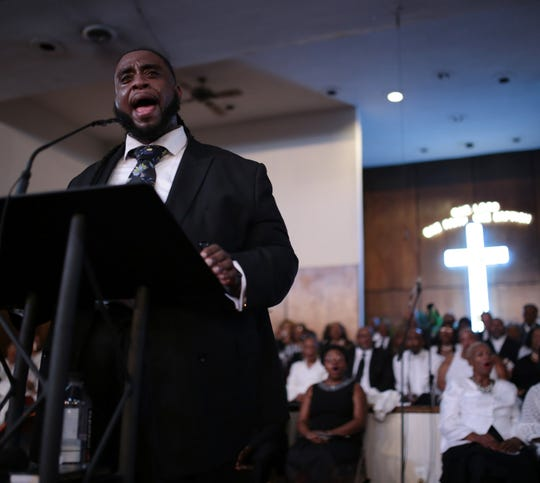 Deontaye Clay of Detroit sings during a gospel tribute concert for the late Aretha Franklin at New Bethel Baptist Church in Detroit on Monday, August 27, 2018.