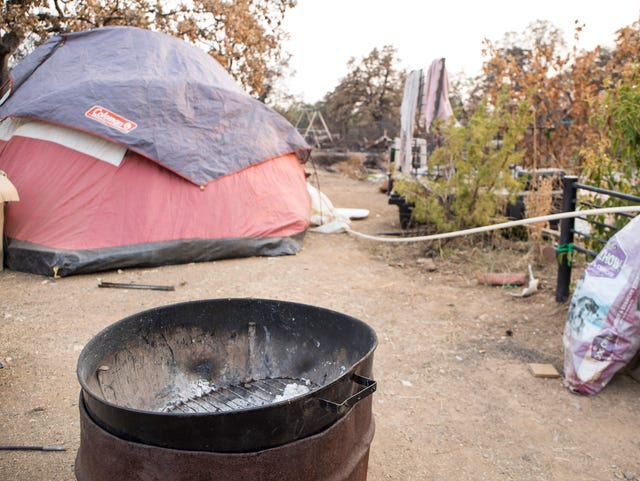 Carr Fire victim living amid the charred rubble of her home
