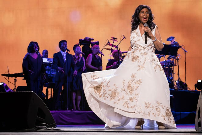 Aretha Franklin, seen here performing in 2017, was celebrated at a Detroit tribute concert on Thursday, the day before her funeral.