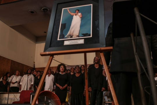A choir sings during a gospel tribute concert for the late Aretha Franklin at New Bethel Baptist Church in Detroit on Monday, August 27, 2018.