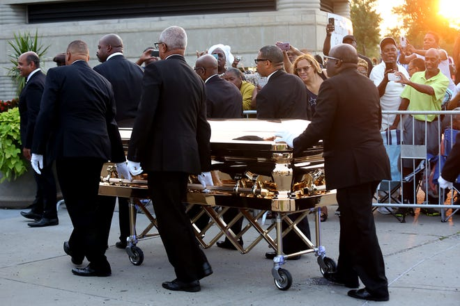 Aretha Franklin's casket arrives at the Charles H. Wright museum in Detroit on Tuesday, Aug. 28, 2018.