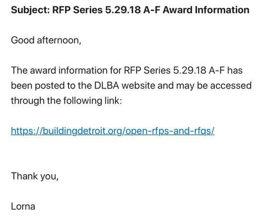 Language used in a May email mirrors what's been consistently sent to contractors announcing bid awards in the past.