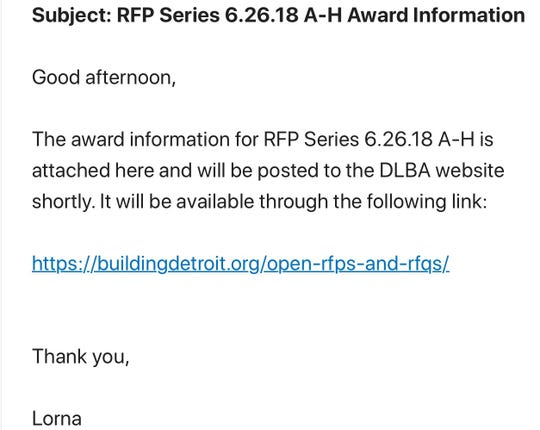 Emails from a Detroit Land Bank Authority official show identical language on bid award notifications from May and June 2018