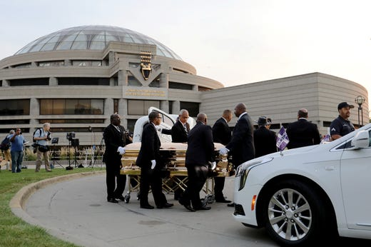 Aretha Franklins Casket Arrives At The Charles H Wright Museum In Detroit On Tuesday