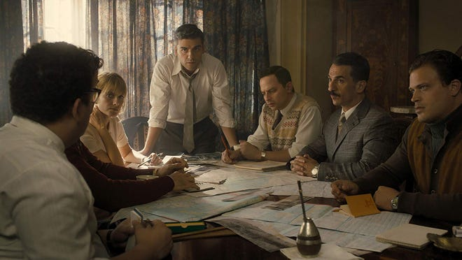 """Mélanie Laurent, Oscar Isaac, Nick Kroll, Michael Aronov and Greg Hill in """"Operation Finale."""""""