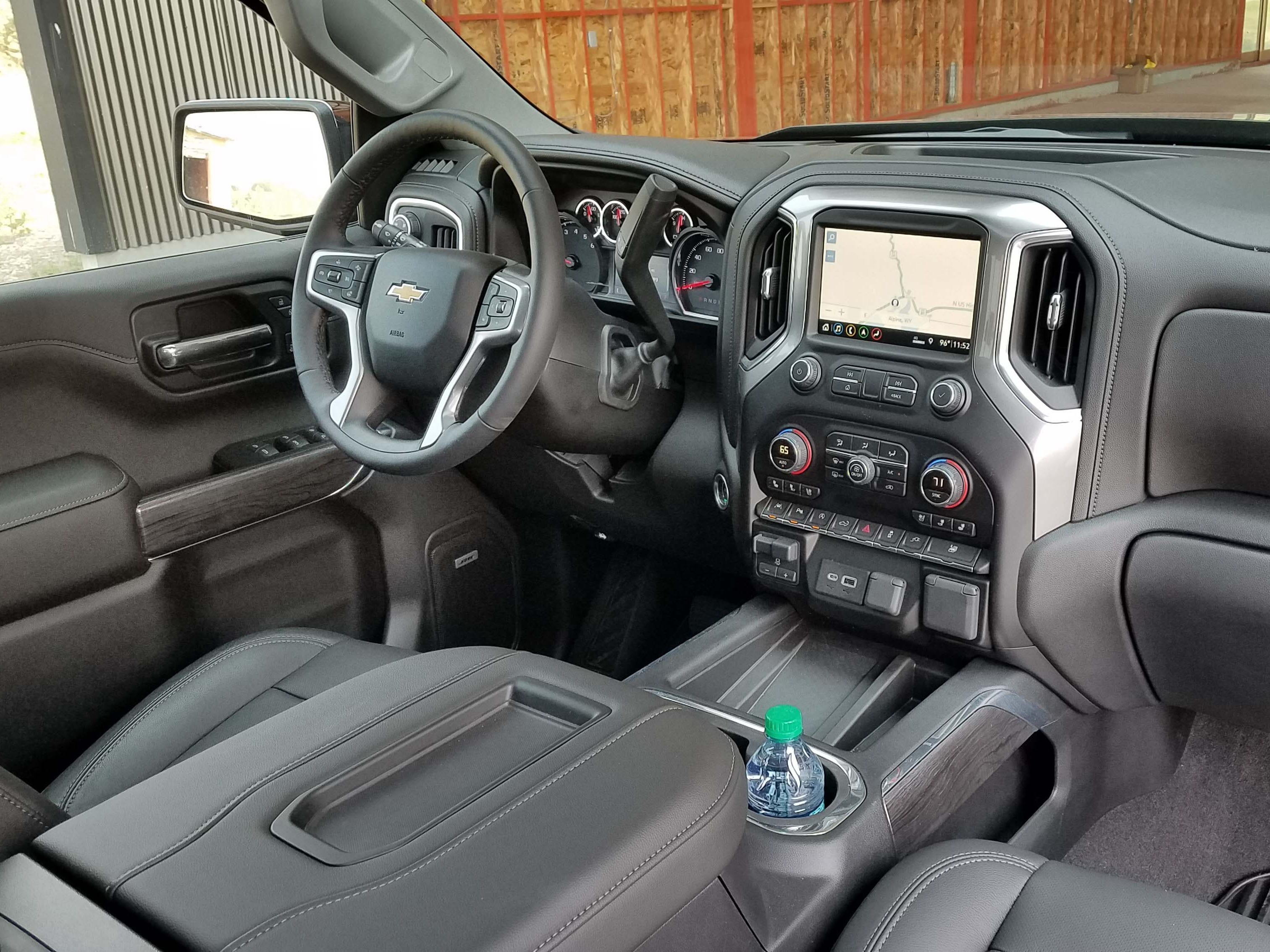 The 2019 Chevy Silverado interior with all the trimmings — leather seats and console stitching, full center console, 8-inch screen, satellite radio and much more. Missing are options found in more affordable vehicles like adaptive cruise control.