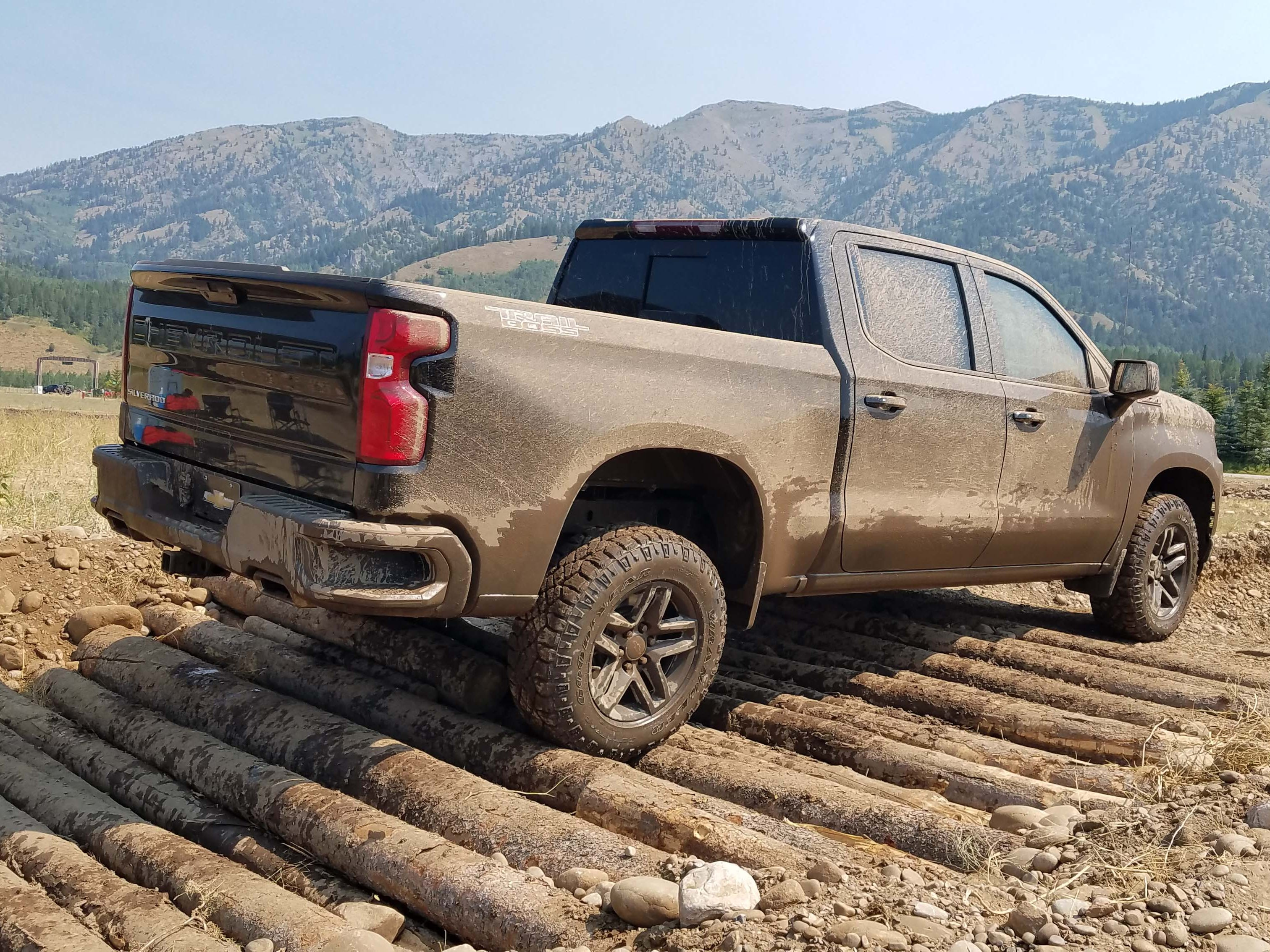 Let's get dirty. The 2019 Chevy Silverado Trail Boss navigates an off-road course in Wyoming.