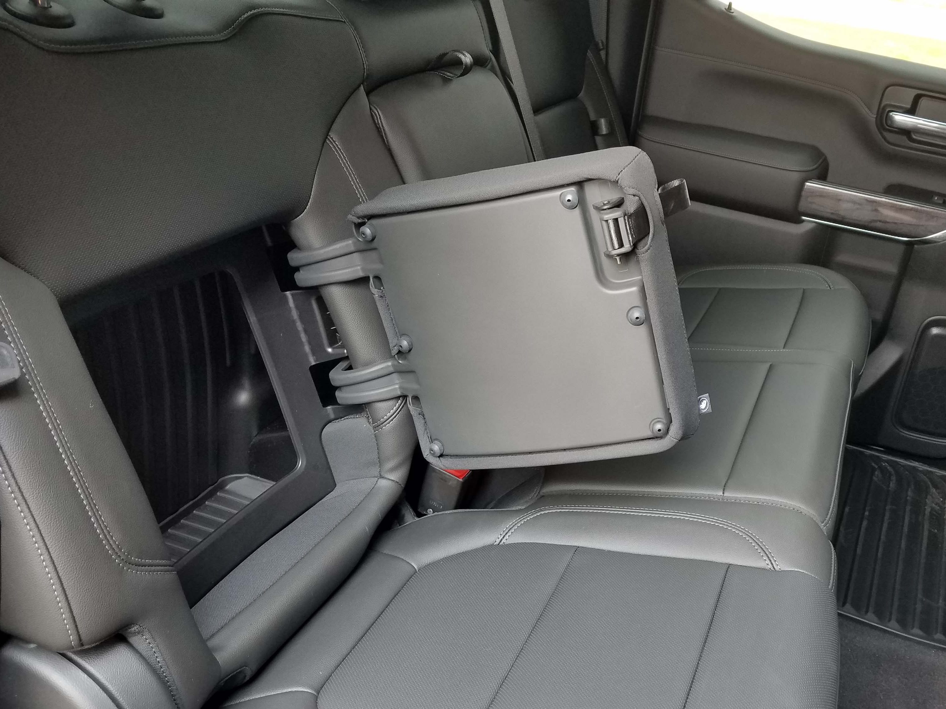 Hiding place. The 2019 Chevy Silverado gets nifty storage space in the rear seatbacks.