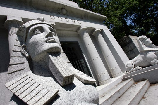 Two sphinxes guard the tomb of the Dodge Brothers, John and Horace, in this Egyptian themed mausoleum at Woodlawn Cemetery in Detroit