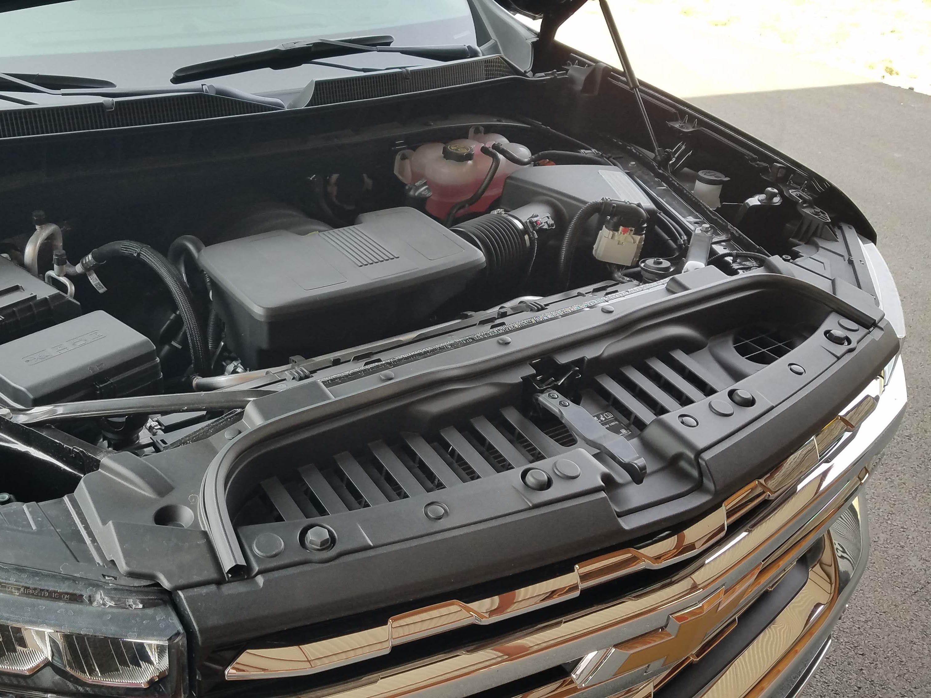 The 2019 Chevy Silverado comes with a range of engines including a 6.2-liter V-8 (shown here), 5.3-liter V-8, 4.6-liter V-6, 2.7-liter turbo-4, and 3.0-liter diesel V-6.