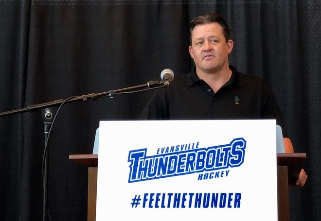 New Thunderbolts coach Ian Moran speaks Tuesday during his introductory news conference at Ford Center.