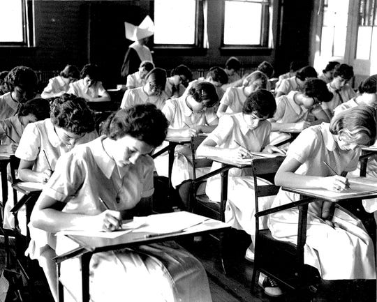Students at Seton High School, in Baltimore, Maryland, taking a test for Project Talent, a nationwide study of 440,000 teenagers in 1960. Participants are now being asked to take part in an Alzheimer's study.