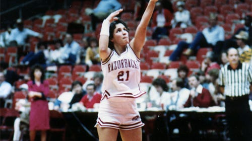 Cheryl Mohr played at Lady Razorback at Arkansas from 1980 to 1984.