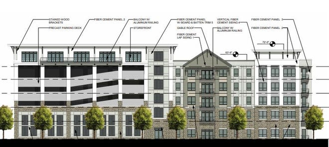 A rendering shows plans for one building in The Standard student housing project between Lake Street Prospect Road, on the south edge of campus.