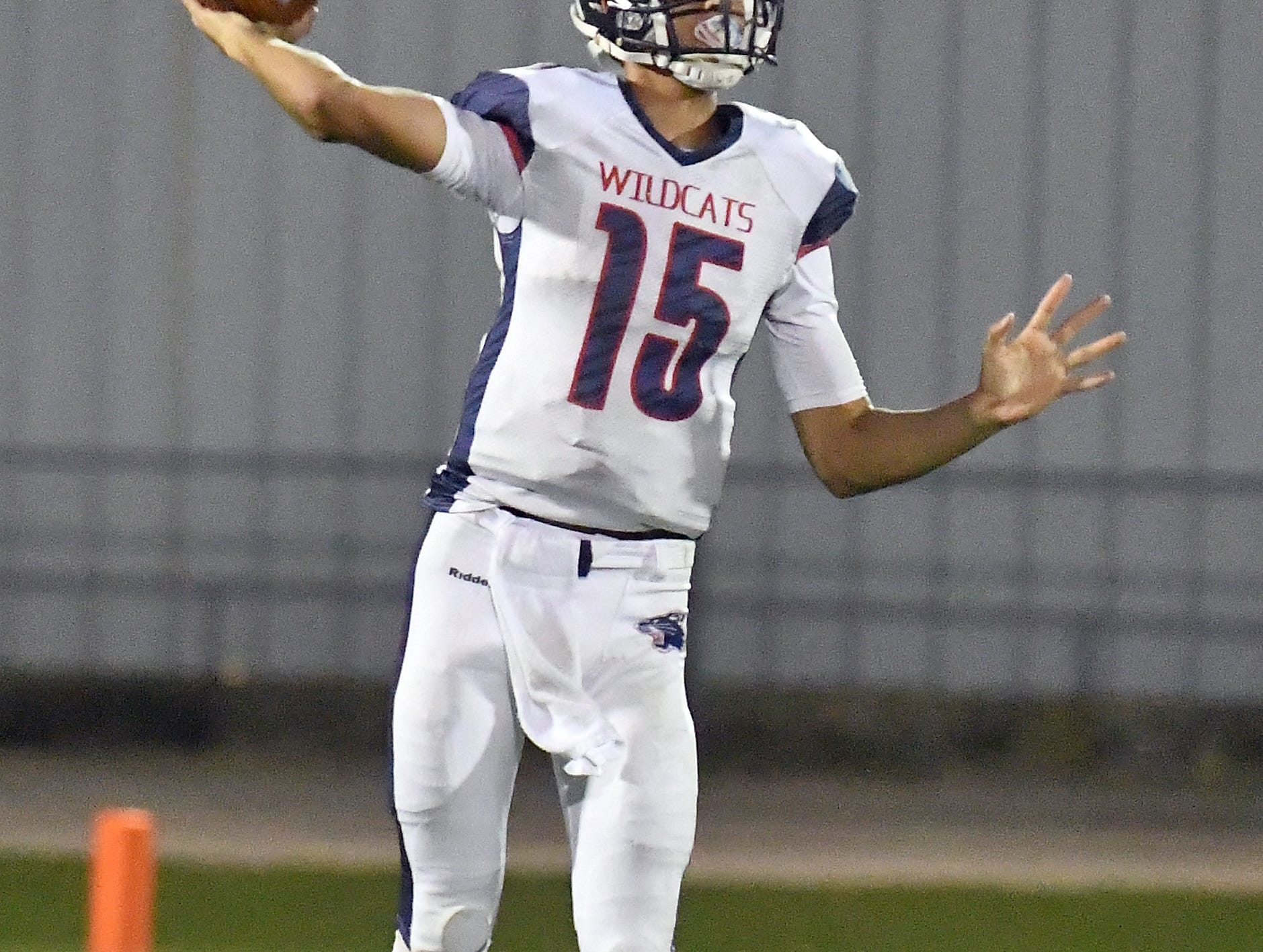 Estero High School quarterback Tanner Elliot (15) passes the ball during their game with  Mariner High School in Cape Coral Monday, Aug. 27, 2018.