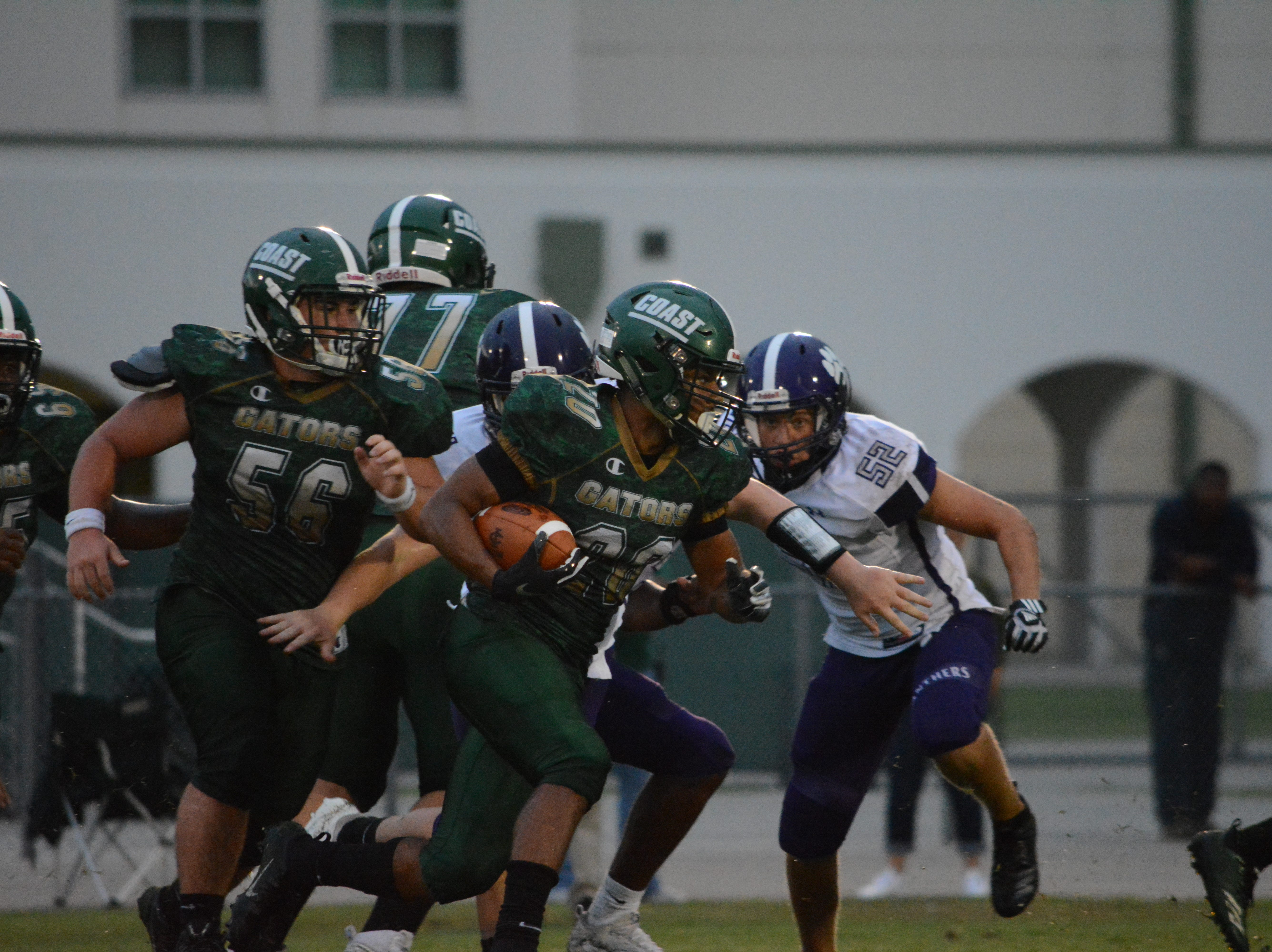 Due to bad weather on Friday, Cypress Lake played a rare Monday night game at Island Coast. The Panthers won 54-14.