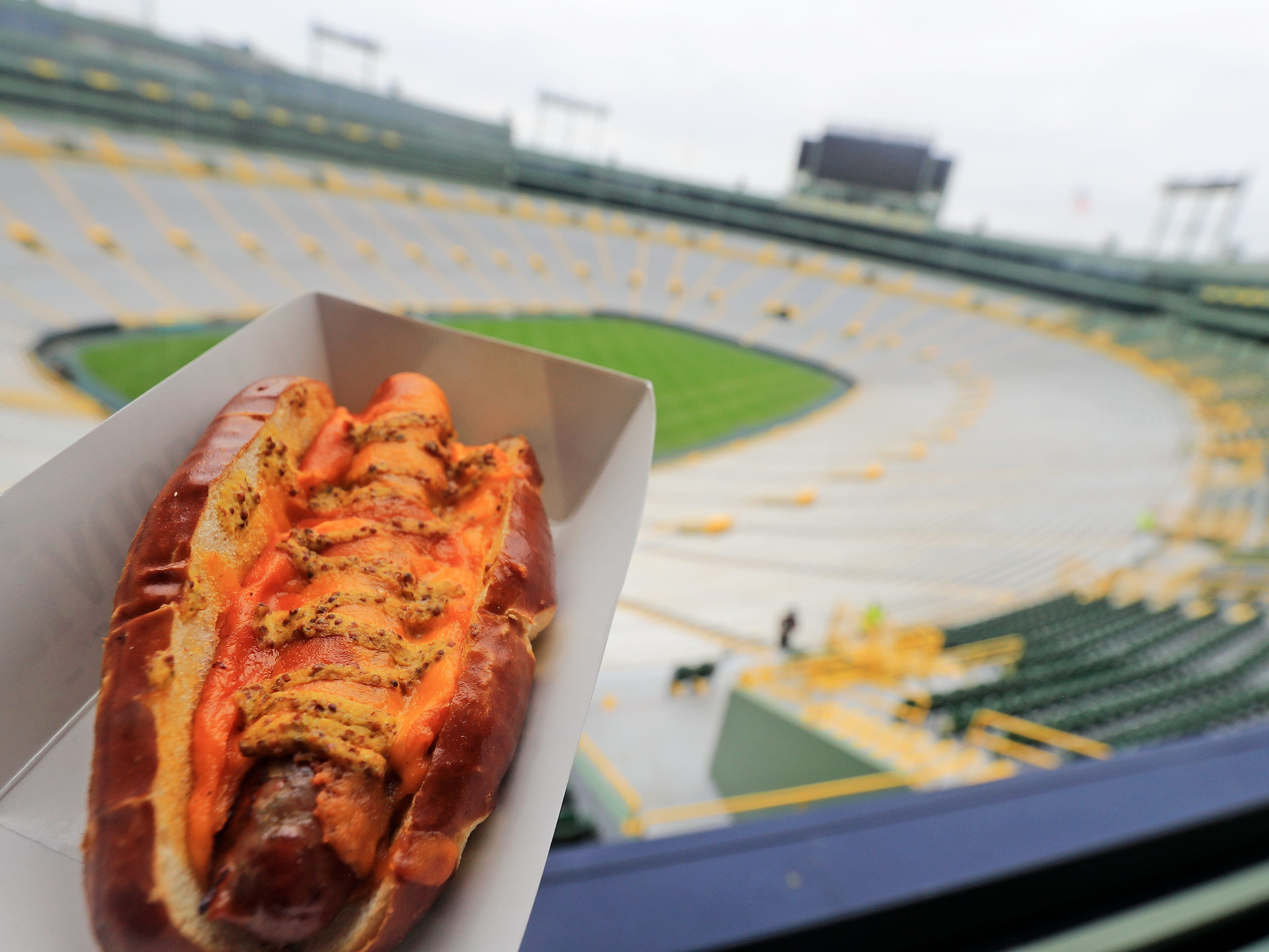 A Brat-in-a-Blanket is shown at Lambeau Field on Tuesday, August 28, 2018 in Green Bay, Wis.