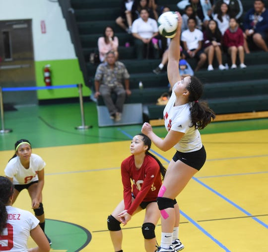 The John F. Kennedy Islanders hosted the St. John's Knights in Independent Interscholastic Athletic Association of Guam Girls' High School Volleyball action on Aug. 28, 2018.