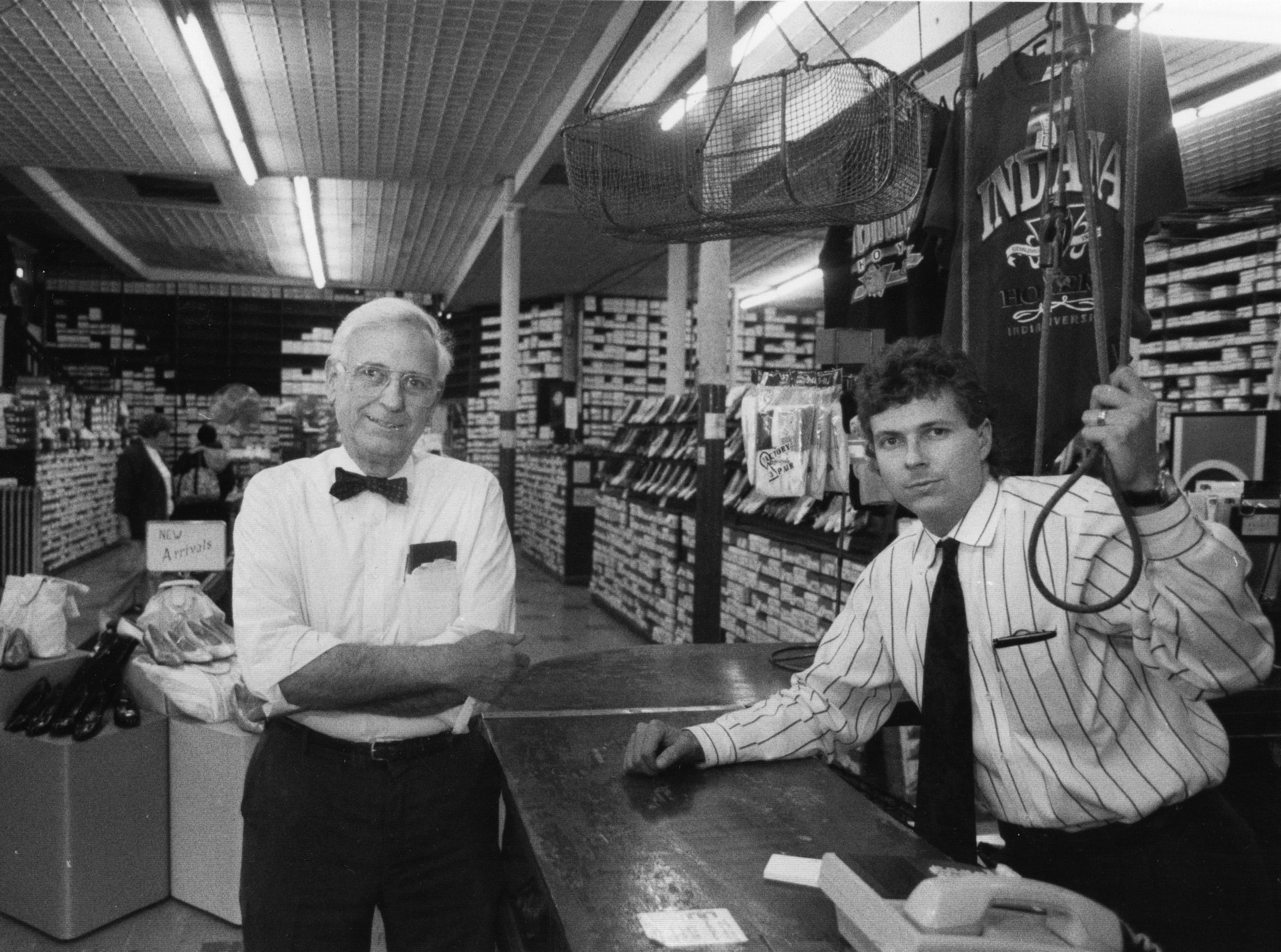 Harry Stout and son Brad at Stout's Shoe Store on Massachusetts Ave. March 26, 1992. Harry Stout dies February 21, 2013.