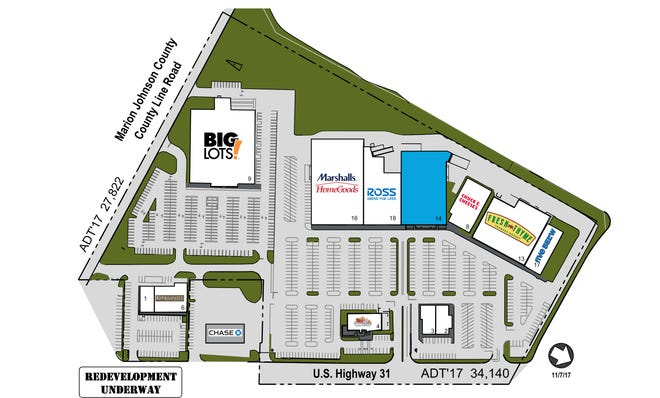 A rendering of the new tenants of the Greenwood Shopping Center on U.S. Highway 31.