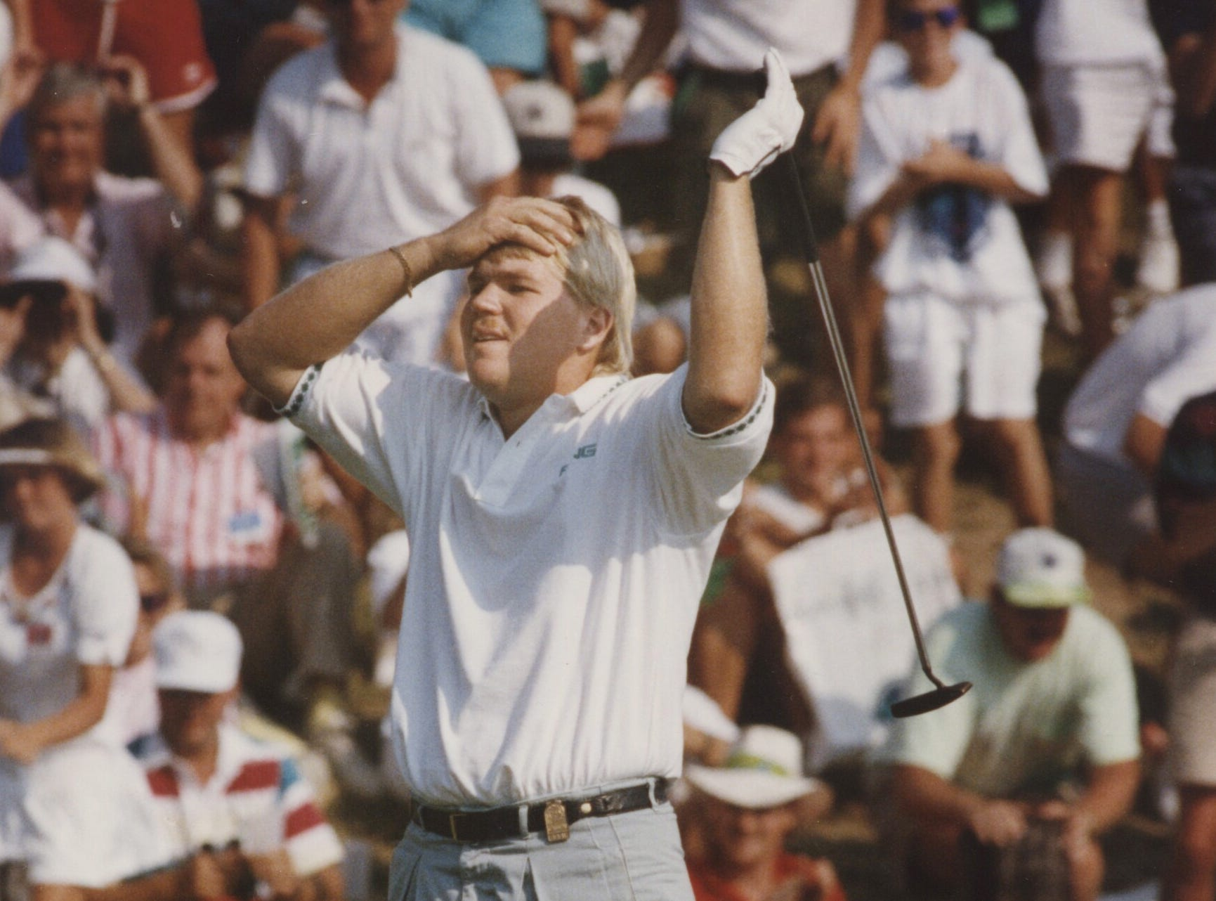 25-year-old rookie John Daly knocked in a putt on the final hole to win the PGA Championship at Crooked Stick Golf Club, August 11, 1991.