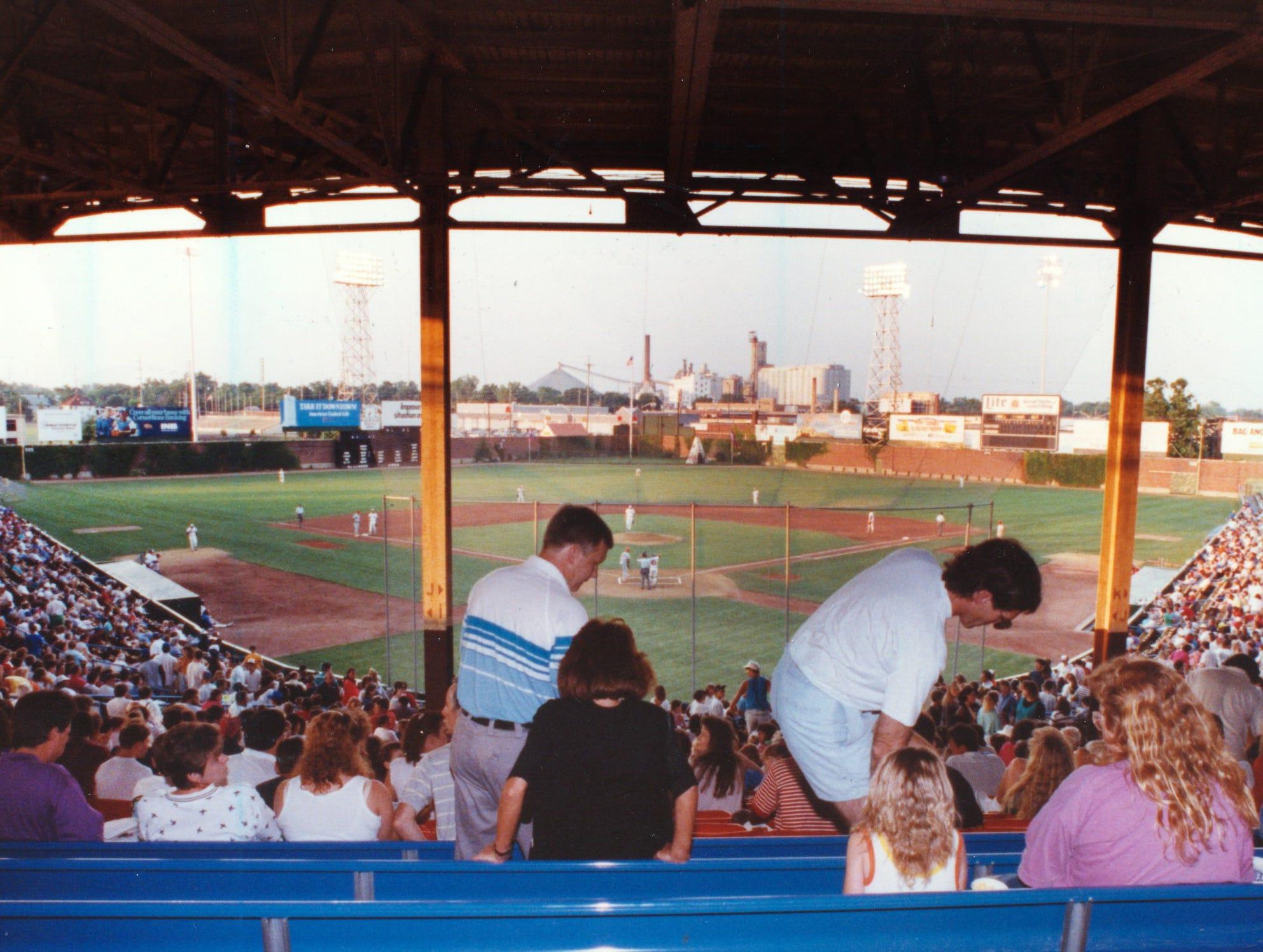 Families enjoy a great evening at Bush Stadium, June 20, 1991.