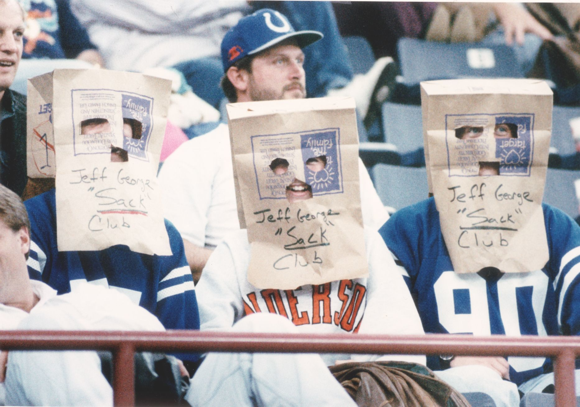 Fans during the Colts' 4-12 season in 1993 express their disapproval.