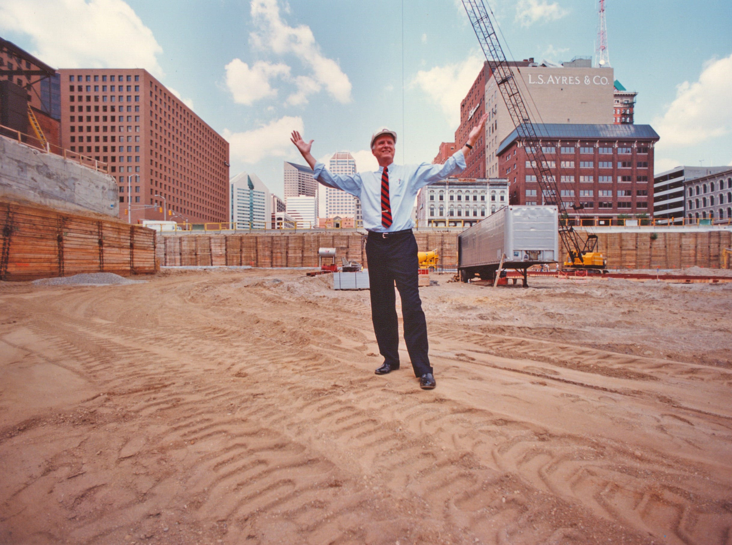 Former Mayor William Hudnut stands amid the construction of Circle Centre Mall on Aug. 21, 1991