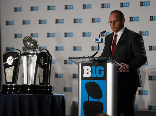Indiana coach Tom Allen speaks at the Big Ten Conference NCAA college football Media Days in Chicago, July 24, 2018.