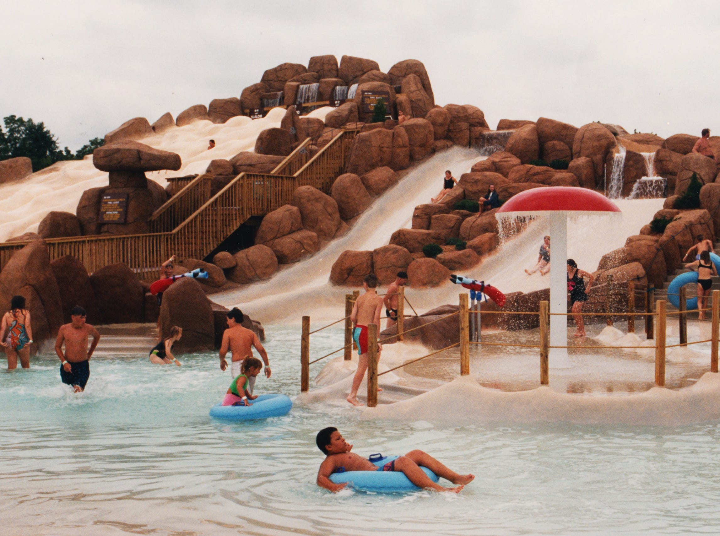 Splashdown Mountain, which opened in 1994, featured almost a dozen different water slides.
