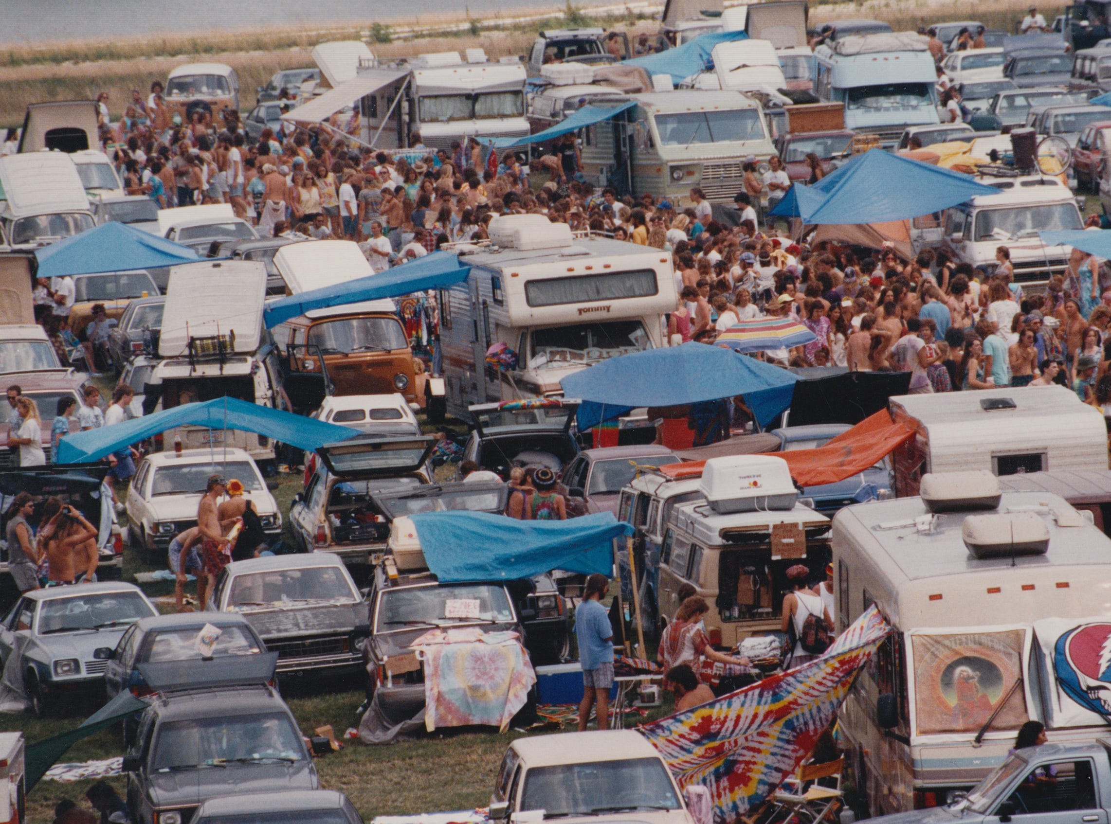 Deadheads camping at Deer Creek Music Center waiting for the Grateful Dead concert in July 1994