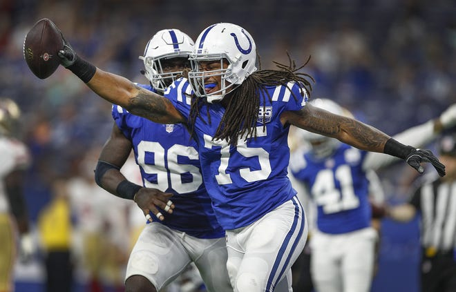 Indianapolis Colts defensive tackle Ryan Delaire (75) celebrates a fumble recovery in the second half of their preseason football game at Lucas Oil Stadium Saturday, August 25, 2018. The Colts defeated the 49ers 23-17.