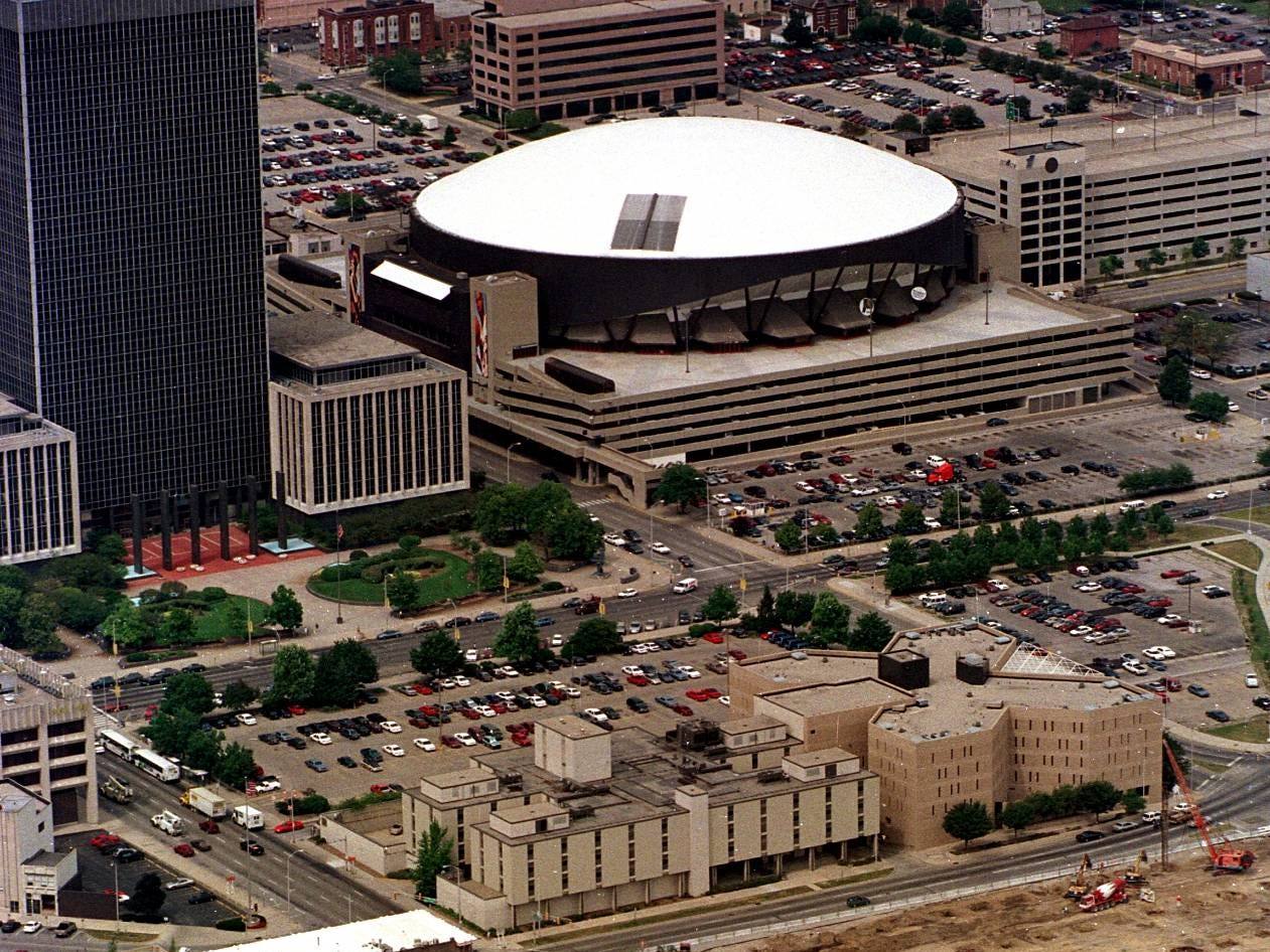 Aerial views of construction of the Conseco Fieldhouse with Market Square Arena in the background with white roof in downtown Indianapolis Friday, July 17, 1998.