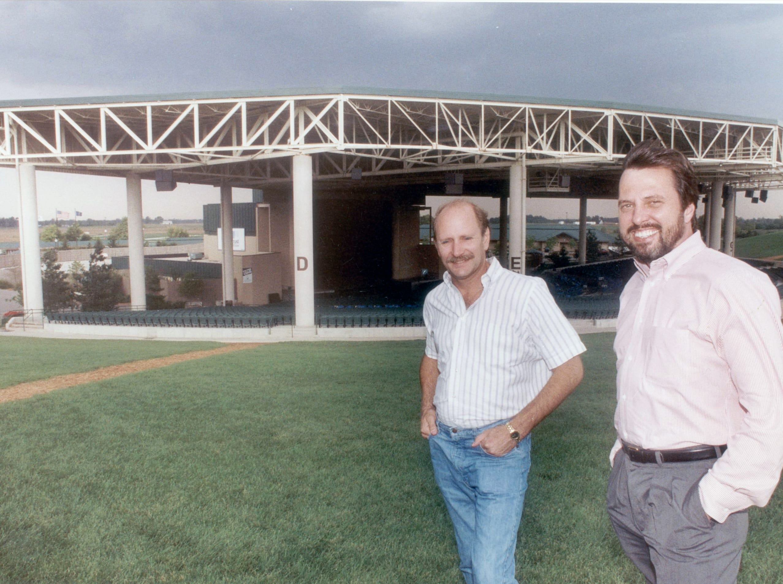 Sunshine promotion owners , Steve Sybesma  (left) and Dave Lucas at Deer Creek Music Center in 1991.