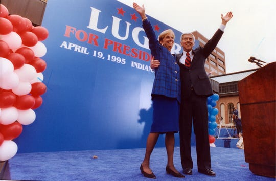 Richard Lugar with wife Charlene announced his candidacy for President at rally at the City Market on April 19, 1995. That announcement was overshadowed by the bombing of the federal building in Oklahoma City that killed 168 people.