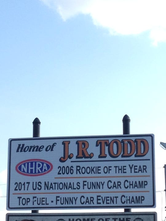 Upon entrance to J.R. Todd's hometown of Lawrenceburg, Indiana, there is a sign just off the road with his name and accomplishments -- including his 2017 win at the U.S. Nationals -- listen on it.