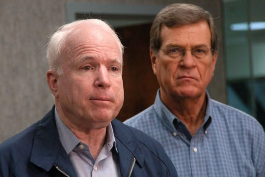 Sens. John McCain, R-Ariz., left, and Trent Lott, R-Miss., at the Gulfport Interantional Airport in this March 11, 2006, file photo . McCain was touring the Hurricane Katrina-ravaged Gulf Coast. Both he and Lott share Carroll County ancestry.