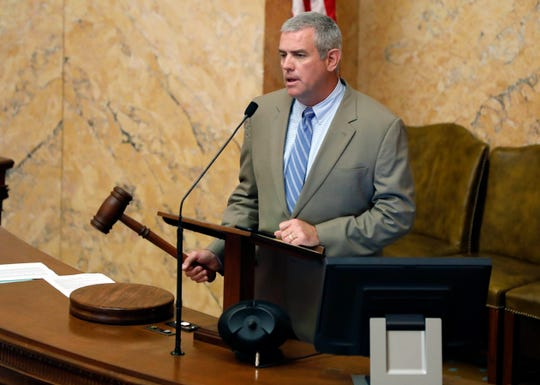Speaker Philip Gunn, R-Clinton, drops the gavel, calling for a recess after the House passed a do-over vote on the lottery bill, Tuesday, Aug. 28, 2018, at the Capitol in Jackson, Miss.  The lottery is an attempt to put about $200 million a year into highways and bridges. Both chambers are expecting Gov. Phil Bryant to expand the call of the special session to deal with BP economic damages settlement.