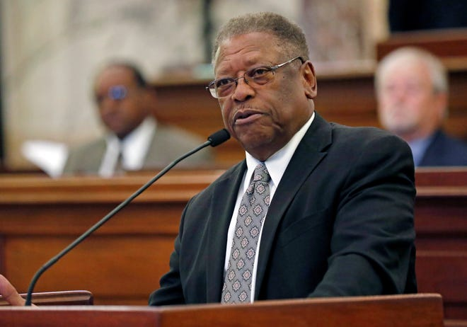 Senate Transportation Committee Chairman Willie Simmons, D-Cleveland, presents a lottery bill in Senate chambers at the Capitol in Jackson, Miss., Monday, Aug. 27, 2018.