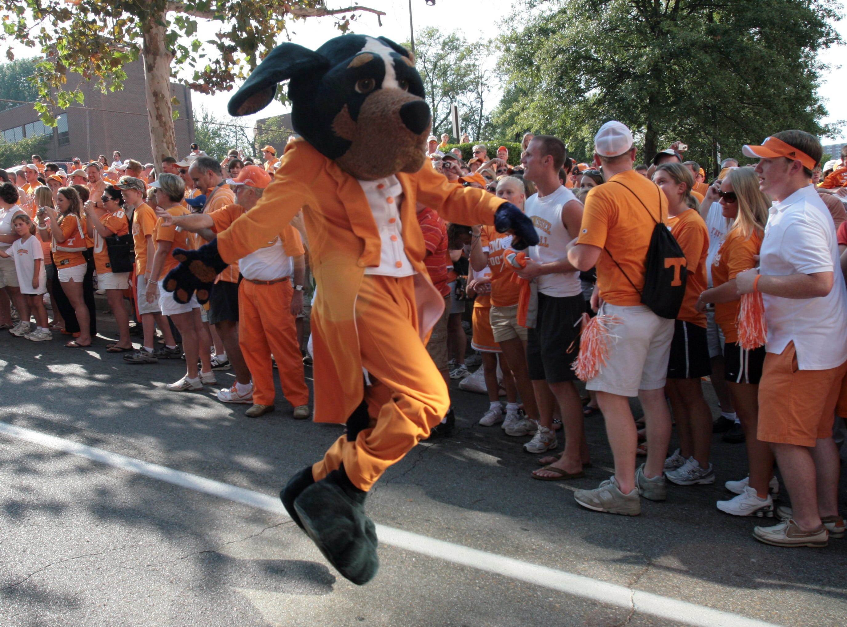 Smokey dances down the street during the Vol Walk before the football game against Southern Mississippi on Saturday at Neyland Stadium. The Vols won 39-19, improving their season record to 1-1.