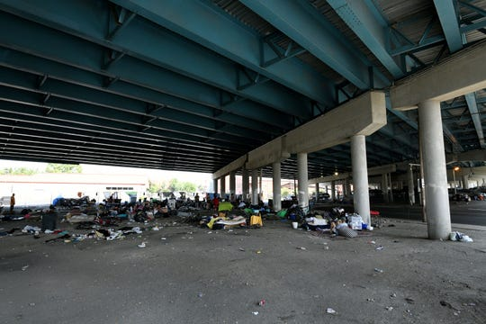 Many homeless people are living under the Broadway viaduct under Interstate 40 Tuesday, August 28, 2018.