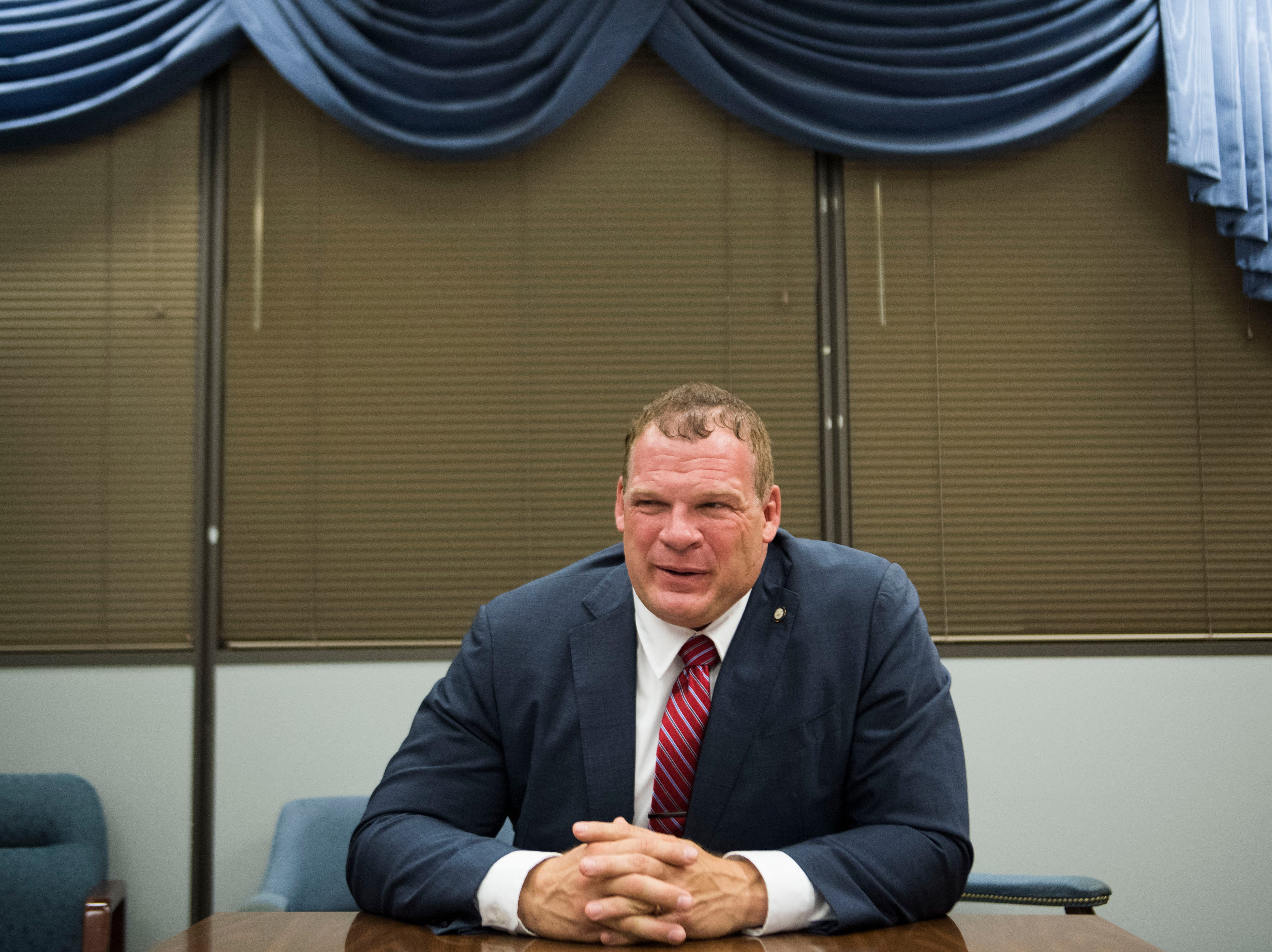Knox County Mayor-Elect Glenn Jacobs speaks in the City-County building Tuesday, Aug. 28, 2018.