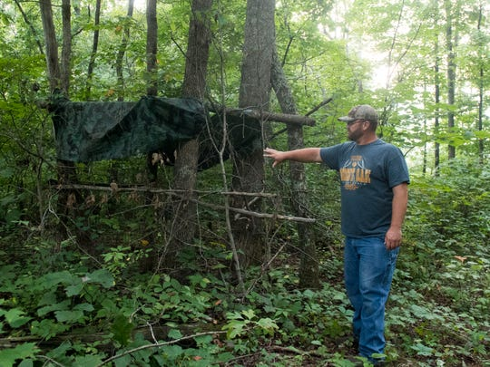 Kenny Wilkerson shows where he placed last year's deer blind on his family's property in Maynardville on Wednesday, Aug. 22, 2018. With the start of hunting season, Wilkerson will construct a new blind.
