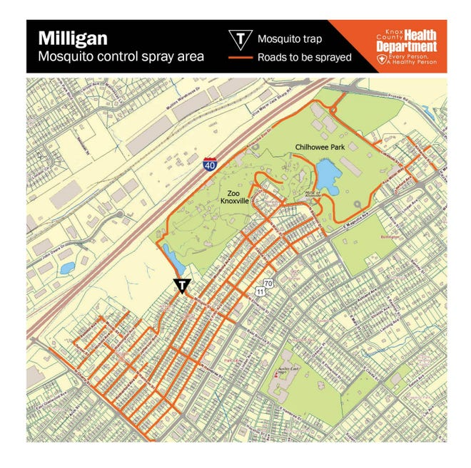 The area will be sprayed for West Nile virus starting Aug. 30, between 8:30 p.m. and 2 a.m.