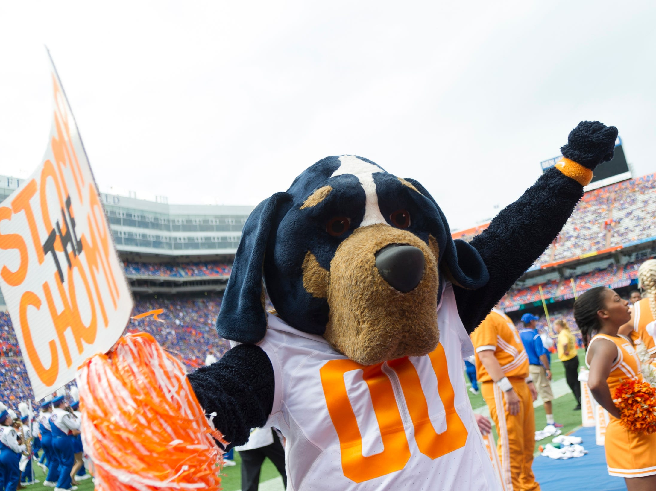 Smokey cheers during the Tennessee Volunteers vs. Florida Gators game at Ben Hill Griffin Stadium in Gainesville, Florida on Saturday, September 16, 2017.