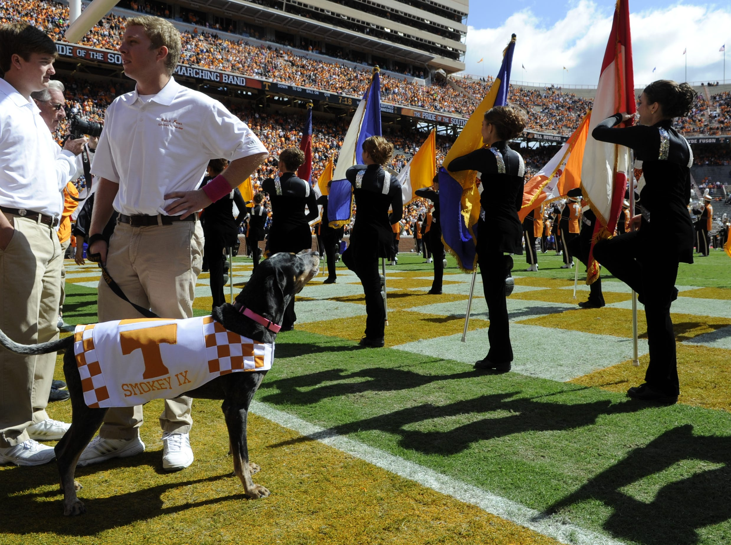 UT mascot Smokey with his handler Robert Moser before the Buffalo game at Neyland Stadium on Saturday Oct 1, 2011. Tennessee won the game 41-10.