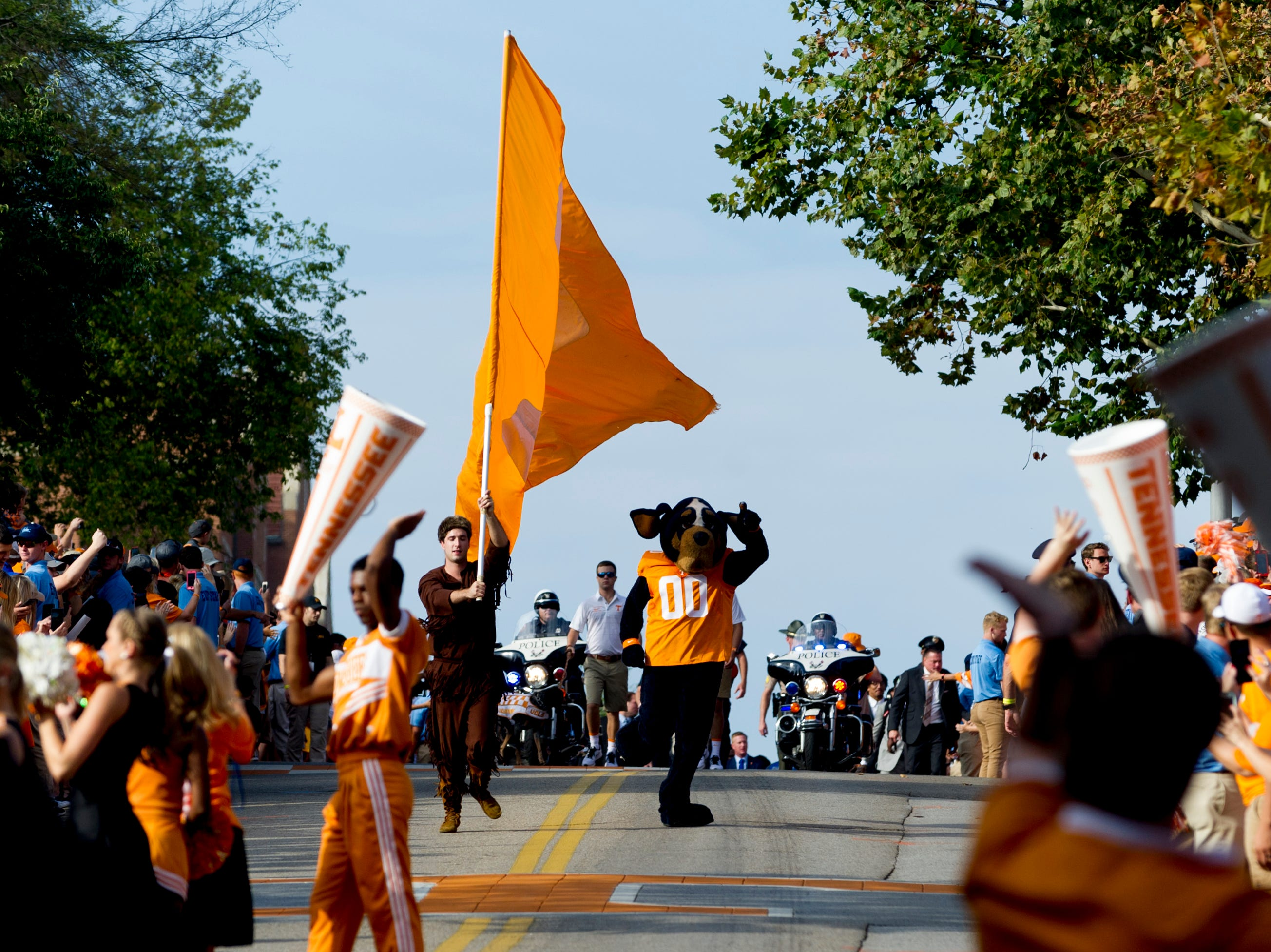 Smokey the mascot begins the Vol Walk during the Tennessee Volunteers vs. UMass Minutemen game at Neyland Stadium in Knoxville, Tennessee on Saturday, September 23, 2017.
