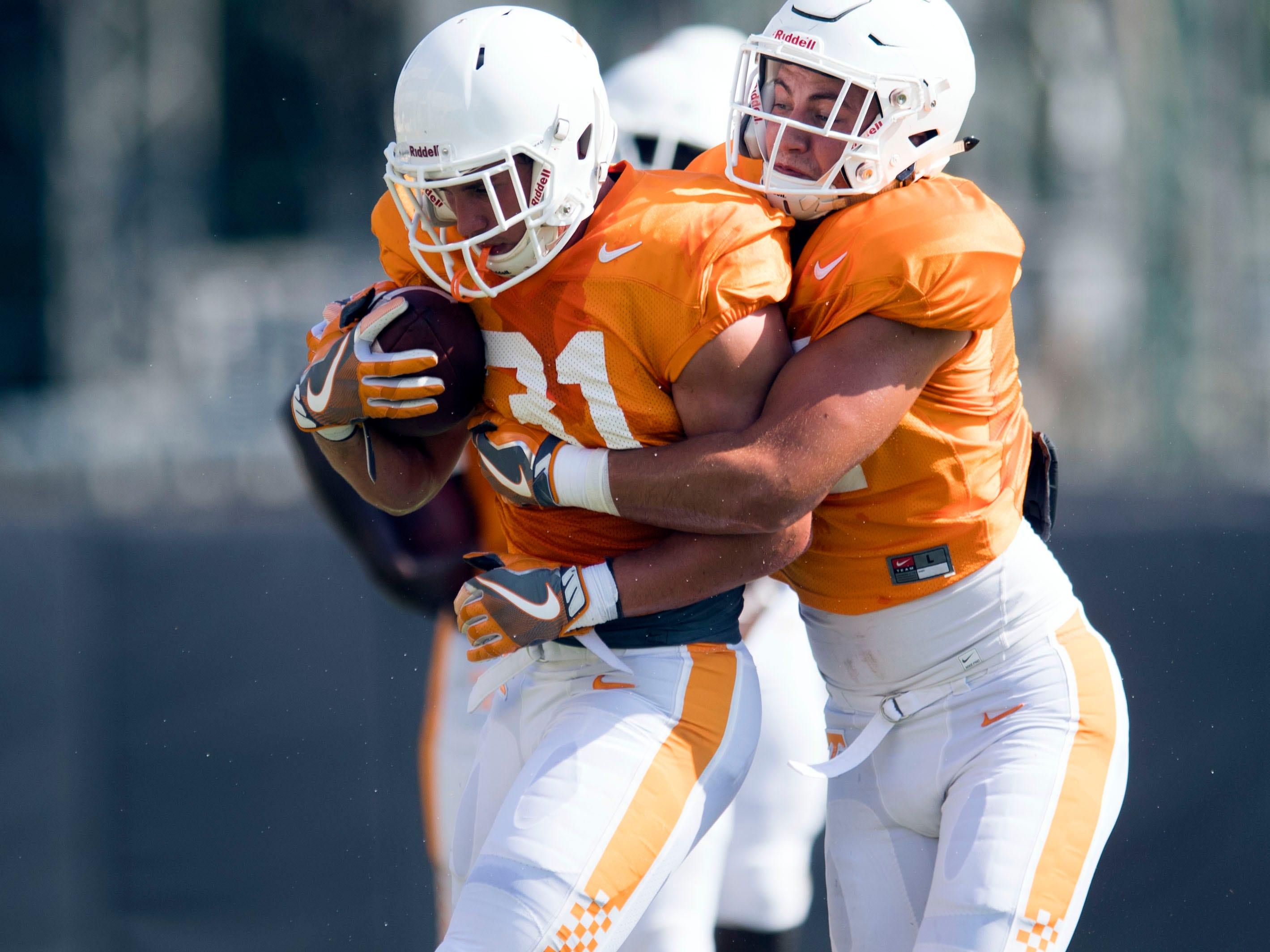 Tennessee linebackers Dillon Bates, left, and Matt Ballard at football practice on Tuesday, August 28, 2018.