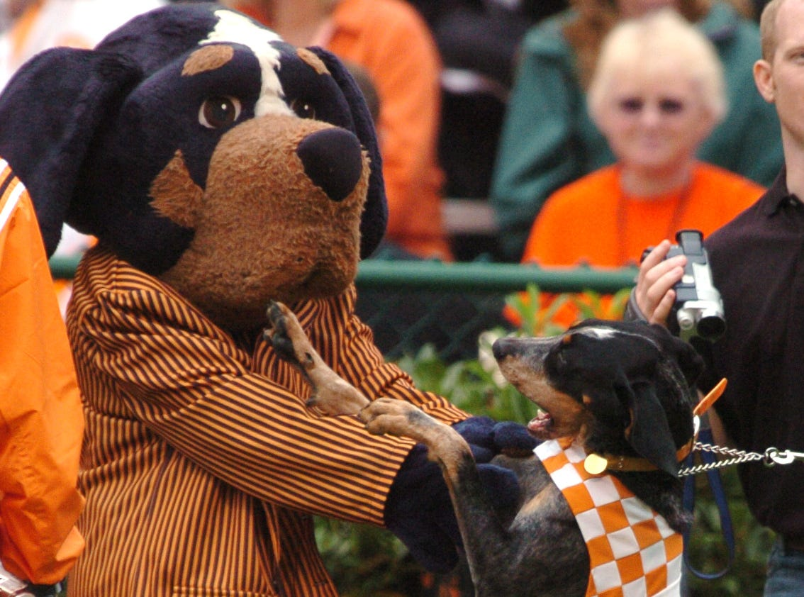 Smokey the dog dances with Smokey the mascot dog on the sideline during the first half against Alabama.--10/23/2004